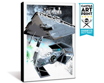 Star Wars Canvas - Darth Vader, Tie Fighter and Star Destroyer - Star Wars Art, large Canvas Art Print, fan art illustration, Star Wars gift