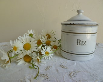 Vintage French Enamel white rice/Riz  container