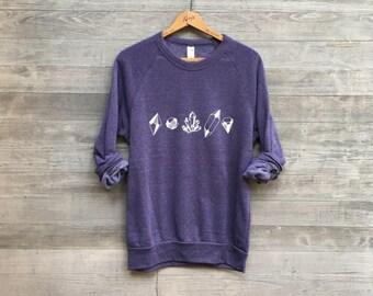 Crystals, Gemstones, Rocks Oh My, Gemstone Shirt, Girlfriend Gift, Cozy Sweater, Ultra Violet, XS-XL