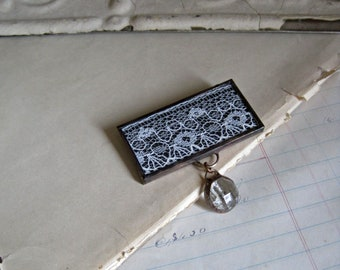 Lace Brooch Pin Stained Glass Jewelry
