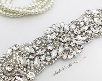 Silver Wedding sash-silver wedding Belt-Pearl Crystal Sash-Rhinestone belt sash-silver Bridal Belt- silver Bridal Sash