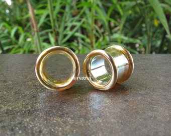 "Silver/Gold Colored Glass Tunnels 4g 2g 0g 00g 7/16"" 1/2"" 9/16"" 5/8"" 3/4"" 1"" 5 mm 6 mm 8 mm 10 mm 12 mm 14 mm 16 mm 18 mm 20 mm 22 mm 25 mm"