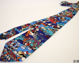 Vintage Disney DuckTales Donald Duck, Scrooge McDuck, Huey, Dewey, and Louie Duck Silk Necktie