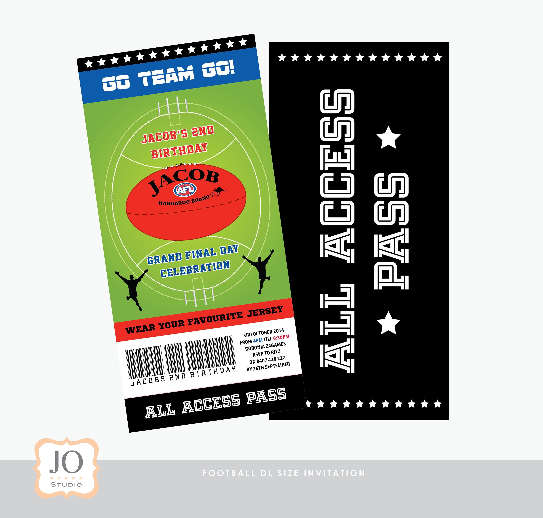 Football Themed AFL DL Size Invitation / Design / DIY