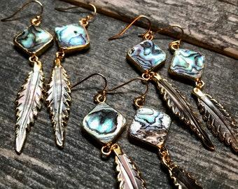 Abalone Earrings Gold,Shell Earring,Feather Earrings,Abalone Dangle Earrings,Long Abalone Earrings,Womens Jewelry,Woman Gift,Hawaii Jewelry