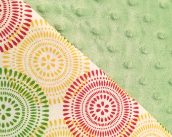 Baby Car Seat Canopy COVER: Red, Green and Yellow Circles on Cream with Light Green Minky, Personalization Available