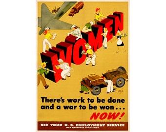Vintage World War II Poster - Women Work to be Done - Rosie the Riveter War Digital Poster Military WWII Propaganda - 0538