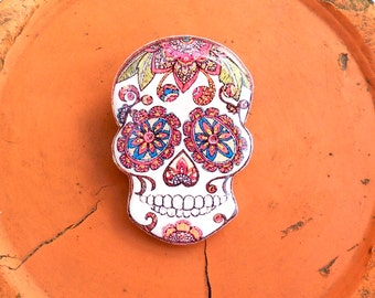 Day of the dead, Openwork skull flowers skeleton, skull, pin skull, brooch skull, jewelry skull, clay skull, clay pin