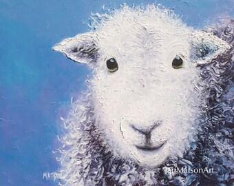 SHEEP painting, FRAMED nursery art, animal painting, kids painting, farm animal, sheep art, impressionist art, Etsy Art by Jan Matson.