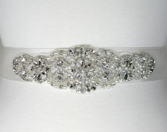 Plus Size Wedding Belt, Bridal Belt, Ivory Bridal Sash, Bridesmaid Belt, Flower Girl Sash, Pearl and Crystal Rhinestone Wedding Sash, ALEXA