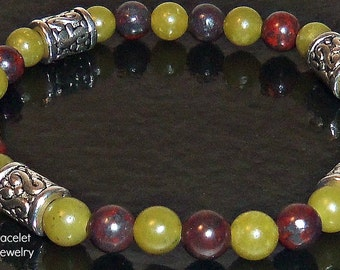 "Bracelet. For Men: Green Quartzite,  Burgundy Brecciated Jasper And Silver Plated Copper  "" Manifest"" By ANena Jewelry"