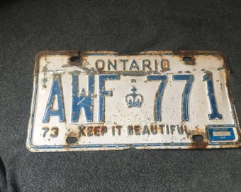 Vintage license plate from Ontario Canada from 1973