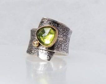 Green Vessonite Ring, Fused Ring, One of a kind, Handmade, Green stone