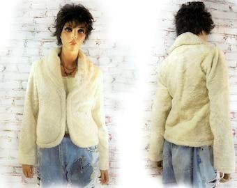 cropped jacket , Altered couture jacket, embellished jacket, flax fur jacket , evening jacket, # 74