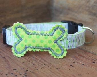 Bone Dog Collar - Lime Green/Grey Print with Lime Green Bone and Grey Stitching