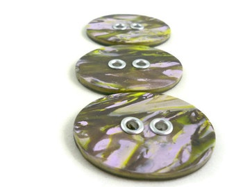 Large sewing buttons set with grommets gorgeous lavender and green clay set of three