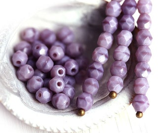 4mm Light Purple glass beads - Opaque Purple czech faceted beads, fire polished round spacers - 50Pc - 1643