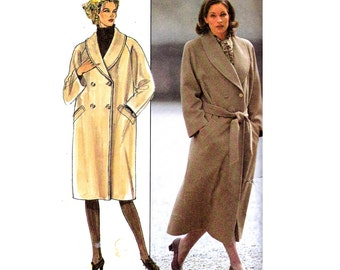 Burda 3321 Womens Shawl Collar Double Breasted Overcoat 80s Vintage Sewing Pattern Sizes 10 12 14 16 18 20