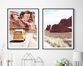 Set Of 2 Prints, Landscape Wall Art, Desert Print, Digital Download, Vintage Vehicle, Road Trip, Arizona Wall Art, Car Poster, #354