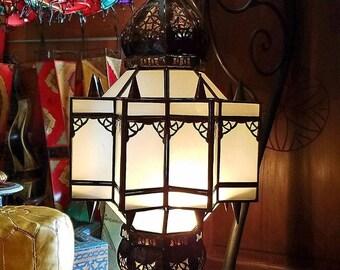 Moroccan Glass Lantern / Frosty White Glass - Makki Style