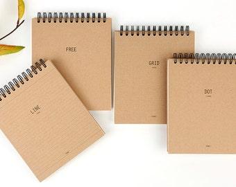 Kraft Notebook [Line/Grid/Dot/Free] /Spiral Notebook/Lined Scrapbook, Journal, Agenda/Bullet Journal/School Notebook, Supplies/Happy Planner