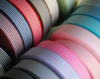 """10 YDs x 25mm (app. 1"""")  STRIPED Ribbon Double Face (17 Colors)"""