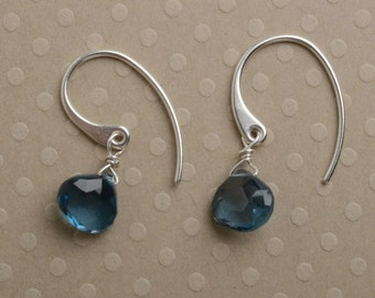 London Blue Topaz Earrings, December Birthstone Earrings, Blue Topaz Sterling Silver Earrings, Healing Gems