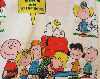 Vintage Charlie Brown Peanuts Twin Flat Bed Sheet 1971 Happiness Friend