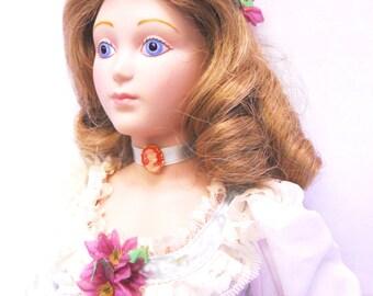 Sale!!! Just Reduced! Little women Amy March Franklin Mint Porcelain Doll Vintage Porcelain Doll Franklin Heirloom Dolls