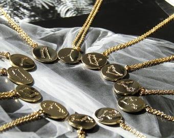 Zodiac Necklace, constellation Necklace, horoscope, gold necklace, astrology