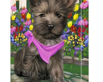 Spring Floral Cairn Terrier Dog Canvas Wall Art