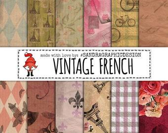 Vintage digital paper, French digital paper, Vintage scrapbook paper, vintage backgrounds (1110)