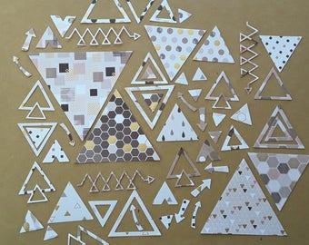 Set of 55 cuts paper, triangles, arrows, geometric patterns