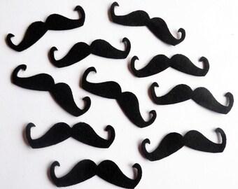 Felt Mustaches, mustaches, felt, felt shapes, felt die cut, felt supplies, felt craft, embellishments mustaches, black, Party Decoration