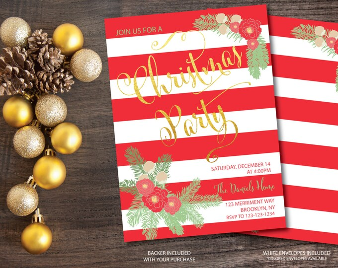 Christmas Party Invitation Christmas Party Invite Red Stripes Striped Printable Faux Gold Foil Holiday Glitter - Holiday Collection
