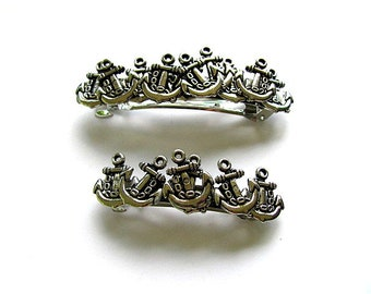Silver Anchors Nautical Barrette Set FREE US Shipping