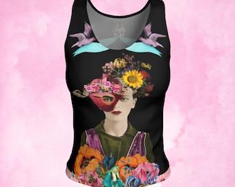Mexican artist, Sacred heart top, sacred heart tee, surrealist art, feminist tank, feminist art, gift woman, workout wear, gift woman