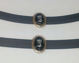Black Glass Intaglio Cameo Metal Mesh Signed Tammey Jewels Vintage 1960's Mid Century Costume Jewelry Choker Necklace & Bracelet Best Deal