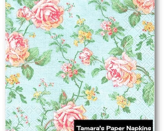 4 Decoupage Napkins, Paper Napkins, ENGLISH ROSES BLUE, Shabby Chic, 33cm 13 Inch. Printed Paper Napkins for Decoupage, Collage or Party.