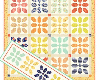 Fat Quarter Quilt Pattern - Merry Go Round Quilt Pattern - Fig Tree Quilt Pattern - Table Runner Pattern - Free Shipping US