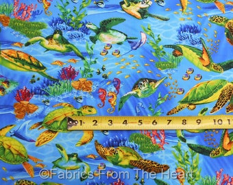 Sea Turtles Fish Coral Seahorses on Ocean Blue BY YARDS Timeless Treasure Fabric