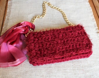 Red clutch bag, Red crochet purse, Red shoulder bag, Woman accessory, Luxury purse, Ruby red bag, Trendy bag, Woman gift