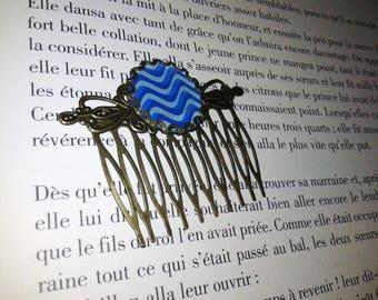 1 comb - vintage - cabochon ' pattern: Waves '