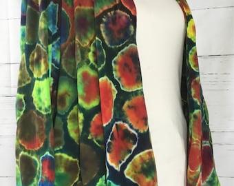 Women's XL Deep Red Color Burst Tie Dye Cotton Jersey Drape Jacket