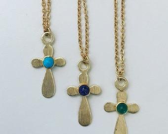 Chain with golden cross and semi precious stone