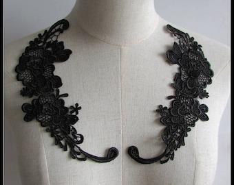 Black Lace Appliques -Flower Appliques Floral Dress Applique,Sew On Appliques Pairs