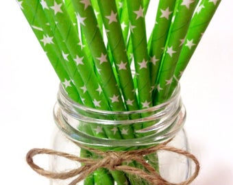 25 Solid Citrus Green Star Paper Straws / baby bridal shower decorations / candy dessert buffet table /wedding/First birthday/new year party