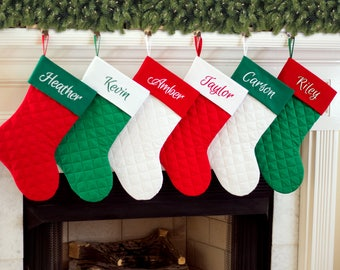 Personalized Christmas Stocking. Quilted Christmas Stocking. Red, Green, White Quilted Christmas stockings. 7 Styles of Christmas Stockings.