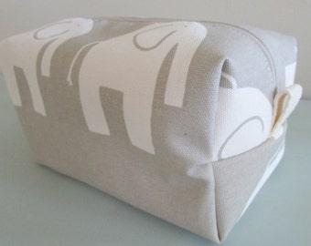 Elephant Make up Bag  -  Vinyl Cosmetic Pouch -  Lunch Bag - Wet Bag -Waterproof Bag