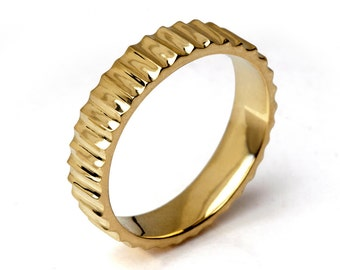 SUNSHINE 14k Gold Wedding Band, Unique Wedding Band,  Men's Wedding Band, Alternative Wedding Band for Men  Women, Mothers Day Gift